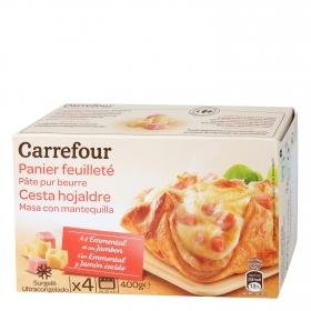Hojaldre Emmental y jamón cocido Carrefour pack de 4 unidades de 100 g.