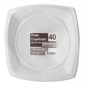 40 Platos Cuadrado de Plástico CARREFOUR HOME  23,5x2cm - Blanco