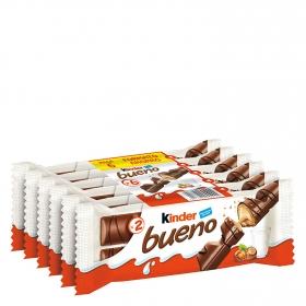 Barrita de chocolate con leche relleno de crema de avellanas Kinder Bueno pack de 6 unidades de 44 g.
