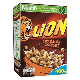 Cereales integrales con caramelo y chocolate Lion Nestlé 400 g.