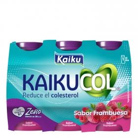 Yogur líquido zero de frambuesa Kaikucol pack de 6 unidades de 92,5 g.