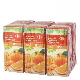 Zumo de naranja y mandarina Carrefour pack de 6 briks de 20 cl.