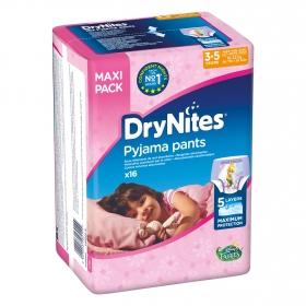 Ropa interior absorbente niña noche DryNites 3-5 años (16kg-23 kg.) 16 ud.