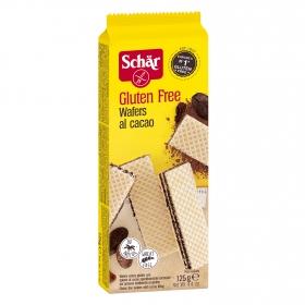 Galletas de barquillo rellenas de cacao Schär sin gluten 125 g.