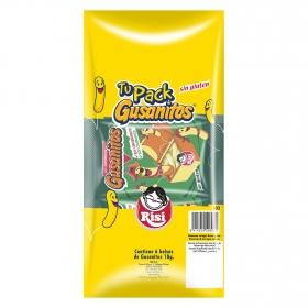 Gusanitos Risi sin gluten pack de 6 bolsas de 108 g.