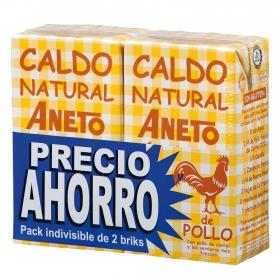 Caldo natural de pollo Aneto sin gluten pack de 2 briks de 1 l.
