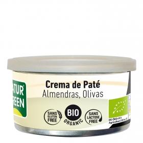 Crema paté almendras olivas ecológica Naturgreen sin gluten 130 g.