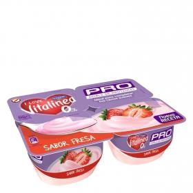 Yogur desnatado de fresa Danone Vitalinea pack de 4 unidades de 135 g.