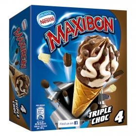 Conos con helado de triple chocolate Nestlé Helados Maxibon 4 ud.