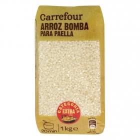 Arroz bomba para paella categoría extra Carrefour 1 kg.