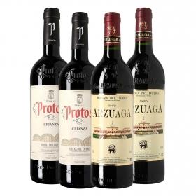 LOTE 61: 2 botellas D.O. Ribera del Duero Arzuaga tinto crianza 75 cl. + 2 botellas D.O. Ribera del Duero Protos tinto crianza 75 cl.