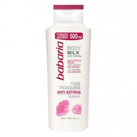 Leche corporal anti-estrías con rosa mosqueta Babaria 500 ml.