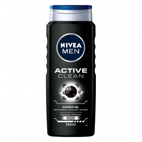 Gel de ducha Active clean con carbón activo Nivea Men 500 ml.
