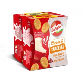 Queso mini + crackers Babybel pack de 2 unidades de 40 g.