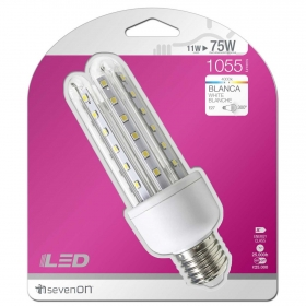 Bombilla LED Stick 11W (=75W) E14 4U Blanca
