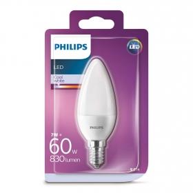BombillaVela Led Philips 60W E14 Blanca