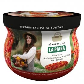 Verduritas para tostas: pimientos rojos y amarillos con cebolla La Piara 180 g.
