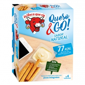 Queso light natural fundido para untar con picos integrales Go La Vaca que ríe 140 g.