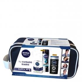 Neceser bálsamo Sensitive + desodorante invisible black & white Active + gel de ducha Active Clean