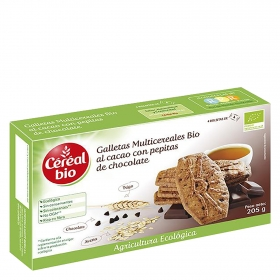 Galletas al cacao con pepitas de chocolate ecológicas Cereal Bio 205 g.