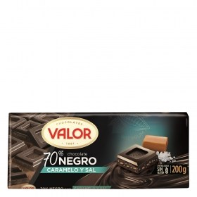 Chocolate negro 70% con caramelo y sal Valor sin gluten 200 g.