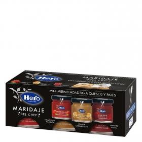 Surtido de mermeladas Hero pack de 3 unidades de 44 g.