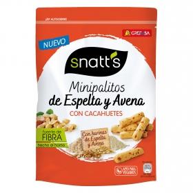 Palitos mini de espelta y avena con cacahuetes Grefusa Snatt's 120 g.