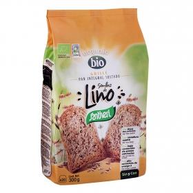 Pan grillé integral tostado con semillas de lino ecológico Santiveri 300 g.