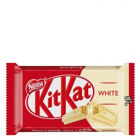 Barrita de galleta crujiente cubierta de chocolate blanco Nestlé Kit Kat 41,5 g.