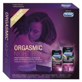 Pack Orgasmic Night Box (12 preservativos + 1 gel intense orgasmic+ 1 cinta + 1 pluma)