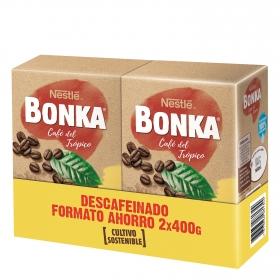 Café molido descafeinado cultivo sostenible Nestlé Bonka pack de 2 unidades de 400 g.
