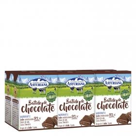 Batido de chocolate Central Lechera Asturiana pack de 6 briks de 200 ml.