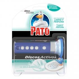 Discos activos inodoros aroma eucaliptus con agentes blanqueantes aparato + recambio Pato 1 ud.