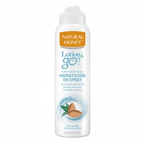 Loción corporal spray con aceite de almendras Lotion & go Natural Honey 200 ml.
