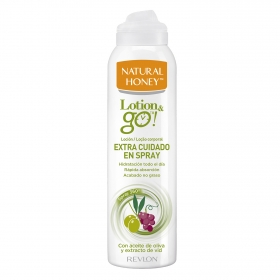 Loción corporal spray con aceite de oliva y extracto de vid Lotion & go Natural Honey 200 ml.