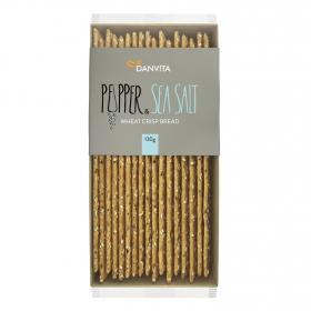 Palitos de pan crujiente con sal marina y pimienta Danvita 130 g.