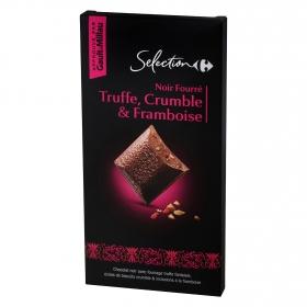 Chocolate negro relleno de trufa, frambuesa y crocanti Carrefour Selección 120 g.