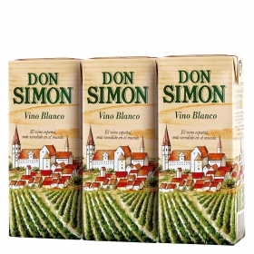 Vino blanco Don Simón pack de 3 briks de 18,7 cl.