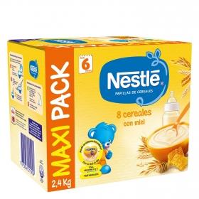 Papilla infantil desde 6 meses de 8 cereales con miel sin azúcar añadido Nestlé 2400 g.
