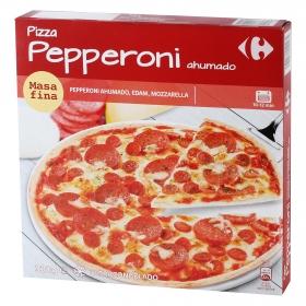 Pizza masa fina de Peperoni ahumado, edam, mozzarella Carrefour 320 g.