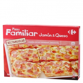 Pizza familiar rectangular Jamón & Queso Carrefour 580 g.