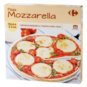 Pizza masa fina mozzarella, tomates cherry, edam Carrefour 340 g.