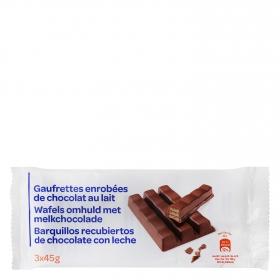 Barrita de galleta crujiente cubierta de chocolate Producto blanco 3 unidades de 45 g.