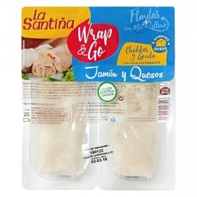 Flautas rellenas de jamón con queso cheddar, gouda y toque de pimienta wrap & go