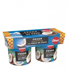 Yogur con nuez y coco Dhul-Gourmand pack de 2 unidades de 150 g.