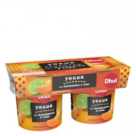 Yogur con mandarina y lima Dhul Gourmand pack de 2 unidades de 150 g.