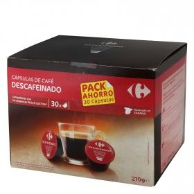 Café descafeinado en cápsulas Carrefour compatible con Dolce Gusto 30 unidades de 7 g.