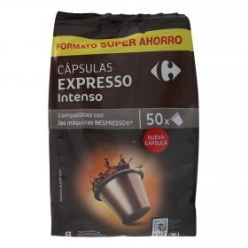 Café intenso en cápsulas Carrefour compatible con Nespresso 50 unidades de 5,2 g.