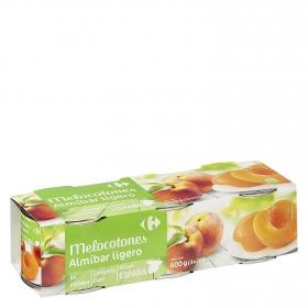 Melocotón en almíbar ligero en mitades Carrefour pack de 3 unidades de 200 g.