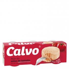 Atún en salsa de tomate Calvo pack de 3 unidades de 52 g.